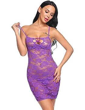 Edited Mujer Conjunto De Lencería Sexy para Mujer Body De Encaje Floral Bodydoll Vestido Transparente
