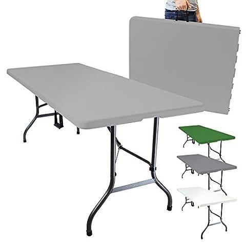 Linxor France ® Table de camping pliable avec poignée (L) 184 x (l) 76 x (H) 74 cm - 4 coloris - Norme CE