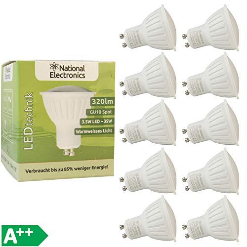10x National Electronics GU10 3.5W 320 Lumen LED | Leuchtmittel ersetzt 40W Watt AC 230V 120° Lampe Spot warmweiß