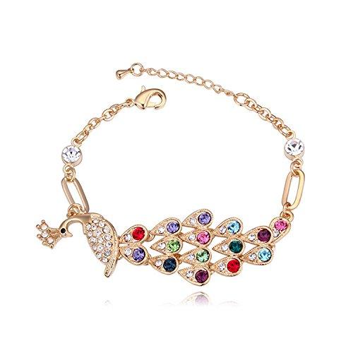 Ameublement et décoration coloré Cuisine & Maison Super cadeau Autriche Cristal Bracelet Bracelet Peacock Vintage Champagne or Bracelet Eco bijoux