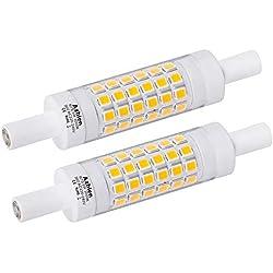 Ampoule R7S LED 78 mm 5W Blanc Chaud 3000K Azhien, Équivalent Lampe Halogene 30W 48W 60W, Linéaire, 230V AC, 500LM, 360 Degrés, J Type J78 Ampoule Projecteur, Lot de 2