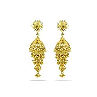 Candere By Kalyan Jewellers 22KT Yellow Gold Jhumki Earrings for Women