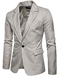 Hombre Trajes y Blazers Chaqueta de Hombre Slim Fit de Manga Larga con un  Solo botón 8a11427f065