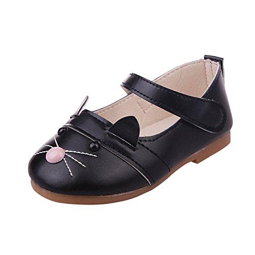 (YASSON Baby Mädchen Schuhe Flach Niedlich Kätzchen Muster Motiv Süß Kunst PU-Leder Kleinkinder Babyschuhe)
