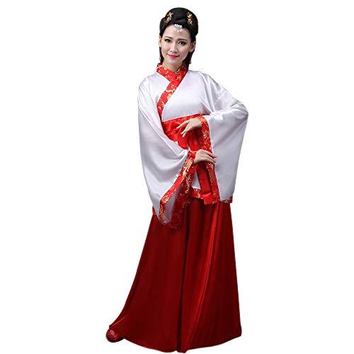 YIHIGH Damen Altertümlich Chinesischen Stil Kleidung Tang Suit Hanfu Prinzessin Chaise Kleid, Rot/3XL