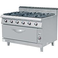 cucina a gas professionale 6 fuochi con forno linea 900 tecnofood erqb9006a