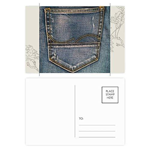 DIYthinker Tasche Denim-Jean-Cowboy Futter Textilien Blume Postkartenset dankt Karte Mailing Side 20pcs 5.7 Zoll x 3.8 Zoll Mehrfarbig - Paper Denim Tuch
