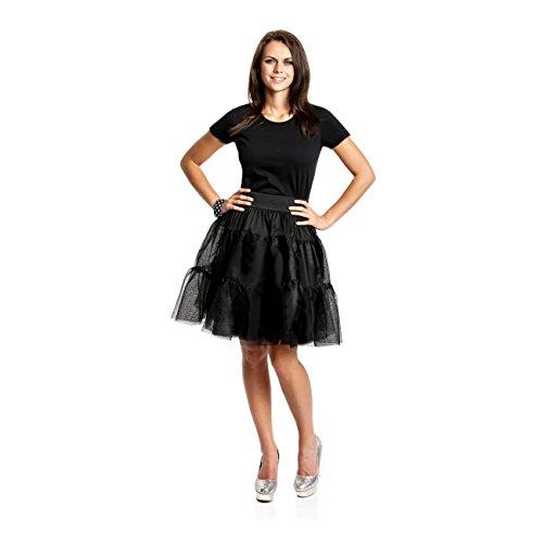 Kostümplanet® Petticoat schwarz mit Gummiband für Rock n Roll, 50er Jahre, Rockabilly, Vintage und Ballerina Tutu Look und Kostüm, Größe: Einheitsgröße, Farbe: schwarz, Verkleidung, Outfit für Karneval, Fasching, Halloween - Damen schwarz Tüll-Rock