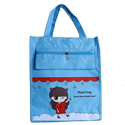 LIXIAQ1 1 STÜCKE A4 Oxford Tuch Dokumententasche Tragbare IPad Tasche Handtasche Wasserdichte Reißverschlusstaschen für Home School Travel, blau (Tuch, Ipad Tasche)