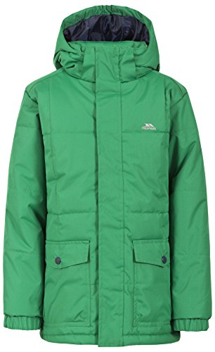 Trespass Longton, Clover, 11/12, Warm Padded Waterproof Jacket with removable Hood for Kids / Boys, Age 11-12, Green