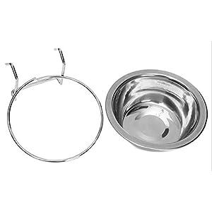 Bol de chien d'animal familier d'acier inoxydable, cintre de tasse de cage d'eau de nourriture de l'eau, plat de nourriture accrochant de non-glissement, bol d'eau de nourriture, bol de voyage pour les outils d'alimentation d'animal familier