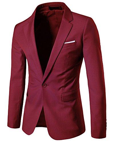 Blazer uomo classico casual one bottoni elegante slim fit vestito di affari cappotto giacca outwear bodeaux xxxxl