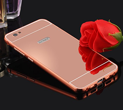 Taslar(TM) Metal Mirror Acrylic Hard Flip Back Cover Case For Gionee S6 / Gionee S 6 (Rose Gold)