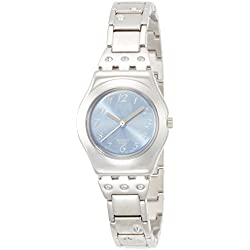 Swatch Ladies Flower Box Blue Dial Stainless Steel Bracelet Watch