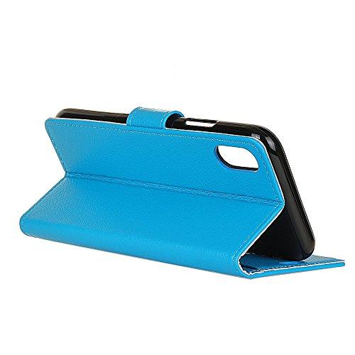 Solid Color Litchi Hautmuster Faux Ledertasche, Retro Folio Stand Case mit weichen Back Cover Geldbörse Tasche mit Card Slots für iPhone X ( Color : Rose ) Blue