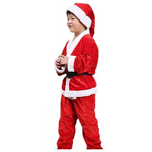 RotSale® 4-teilig Nikolaus Anzug für Junge M Kostüm Weihnachten Suite Nikolauskostüm Weihnachtsmannkostüm (Suiten Für Jungen)