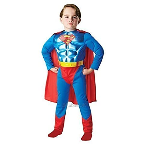 Official Licensed Boys Deluxe Metallic Muscle Chest Superman Super Hero Book Day Week Halloween Fancy Dress Costume Outfit Ages 3-8 years (7-8