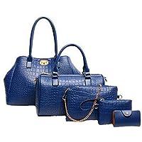 Five-piece dark blue handbag shoulder bag Messenger bag crocodile pattern handbag