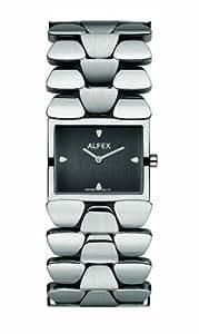 Alfex - 5633_002 - Montre Femme - Quartz Analogique - Cadran Noir - Bracelet Acier Gris