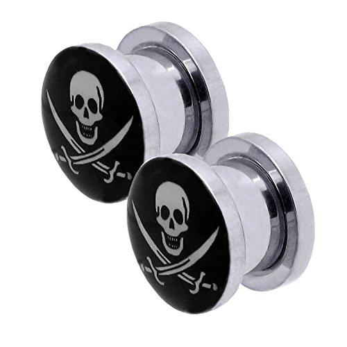 2er Set Flesh Tunnel Plug Piercing Motiv Logo Pirat 10 mm Dehner Edelstahl Ohrschmuck ()