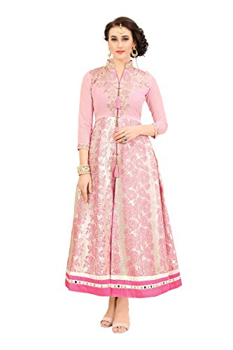 EXCLUSIVE BABY PINK COLOUR IN SILK WITH WORK OF HEAVY MULTI ZARI...
