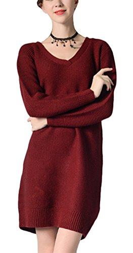 MILEEO Femme Couleur Unie chandail col en V pull robe longue chemise en tricot Bordeaux