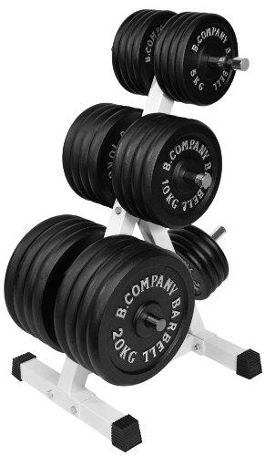 Bad Company Deluxe Hantelscheibenständer I 7 Scheibenaufnahmen für Gewichtsscheiben I Max. Tragkraft 350 Kg - Weiß I BCA-15
