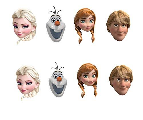 Star Cutouts SMP381 Disney Party-Set Anna Kristoff Olaf 2 x Elsa Frozen Masken inklusive Reiter und Gummizug, mehrfarbig