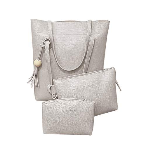 XZDCDJ 3PC UmhängeTaschen Damen Günstig Mode Frauen Quasten Leder Umhängetasche Umhängetasche Clutch Wallet Vintage Bag Grau -