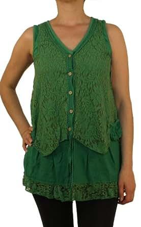 07680 PERANO Damen Mini Kleid, Longshirt, Tunika, Leinen, grün, M.