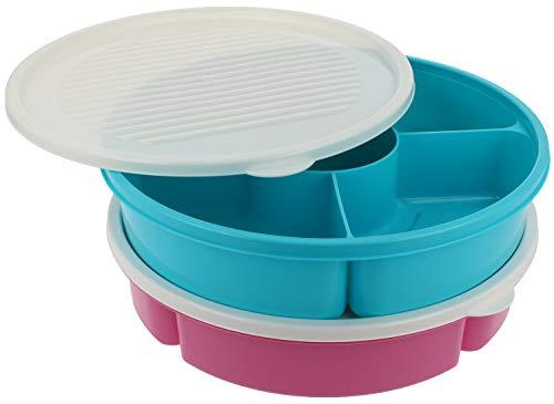 COM-FOUR® 2x Vorratsdose für Camping, Picknick und zu Hause - Servierschale für Obst, Gemüse und Snacks - Aufbewahrungsbox mit Deckel (02 Stück - pink/blau)