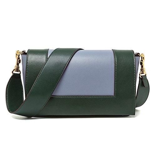Mefly Unica Borsa A Tracolla Lady Fashion Color Rosso Mattone Con Il Bianco Green with pale blue
