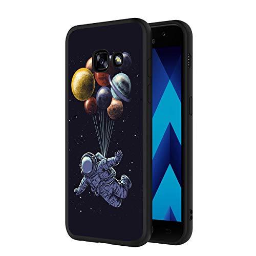 ZhuoFan Coque Samsung Galaxy A5 2017, Etui en Silicone Noir avec Motif 3D Fun Fantaisie Dessin Antichoc Souple TPU Housse de Protection Case Cover Bumper Coque pour Téléphone SamsungA5, Espace 2
