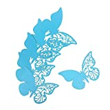 ElecMotive 50 Piezas Tarjeta de Copa Lugar Forma Mariposa Decoración para Fiesta Boda Pegatinas de Pared Azúl