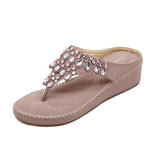 Mulheres Youjia Grânulos Brilhantes Clipe Toe Cunha Calcanhar Sandálias Casuais Sapatos Roxos