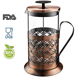 Rackaphile Cafetière à Piston Acier Inoxydable, French Press -1L/8 Tasse-Noir