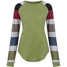 Yesmile ❤ ❤ Moda Mujer Rayada Casual Top Camiseta Mujer otoño niña ...