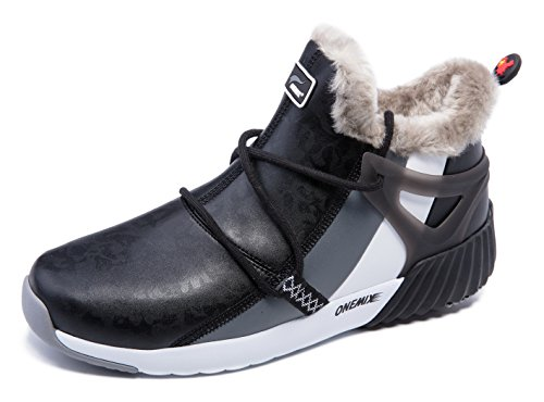 onemix Herren Warm Gefütterte Schuhe Damen Outdoor Stiefeletten Schneestiefel für Winter Schwarz/Grau 41 EU -