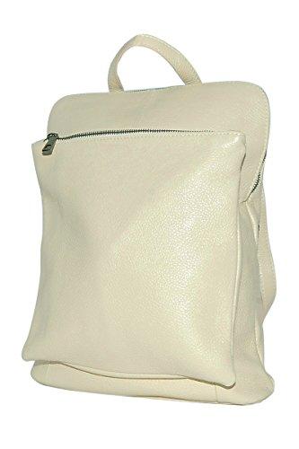 BORDERLINE - 100% Made in Italy - Echtes Leder Frauen Rucksack - BEATRICE (Beige)