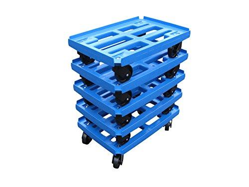 Transportroller 5er Pack für Boxen 600x400mm, blauer PP Gitter Rahmen 4x Kunststoff-Lenkrolle, PP Kunststoffrad schwarz ø 100mm (Rollwagen Gitter)