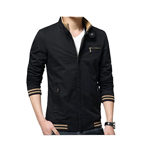 Zhhlinyuan Manteaux Men's Spring Casual Cotton Coat Zipped Jacket Stand Collar Outerwear Black