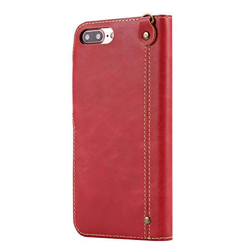 "MOONCASE iPhone 7 Plus Coque, Card Slots Faux Cuir Flip Portefeuille Housse Flexible TPU Antichoc Protection Étuis Case pour iPhone 7 Plus 5.5"" Rouge Rouge"