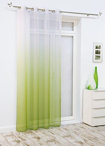 Brandsseller Ösenschal Deko Ösen Schlaufen Schal Vorhang Gardine Fenster Schals Rainbow - Grün/Weiss