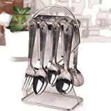 Sakoraware Stainless Steel Cutlery Set Of 24 Pcs Spoons/Forks With Pure Steel Holder