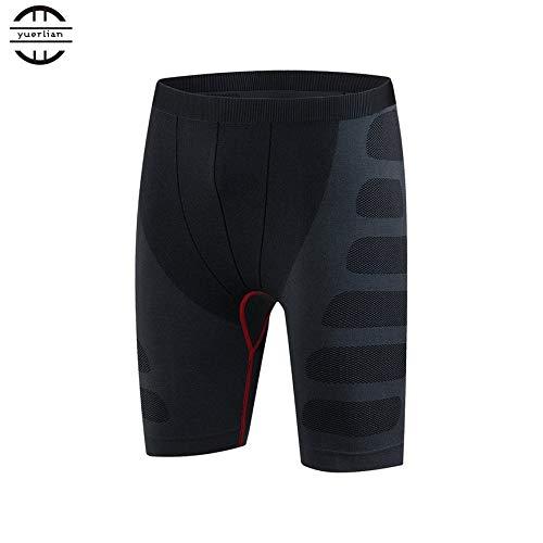 VCB Yuerlian elastische schnell trocknende Kompressionshose Herren Sport-Trainingsshorts - schwarz & rot (L) -