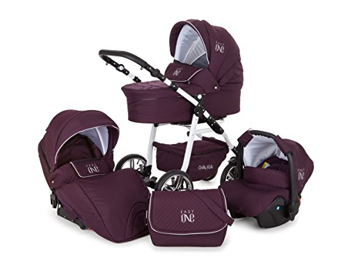 Lux4Kids Kinderwagen Set Babywanne Sportsitz Babyschale Wickeltasche Matratze 3in1 VIP Luxus Made in EU Easy One Pflaume