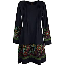 GURU-SHOP, Mini Vestido Hippie Boho Chic, Túnica, Negro/Verde, Algodón, Tamaño:S (36), Vestidos Cortos