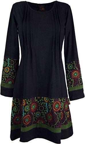Guru-Shop Hippie Minikleid Boho Chic, Tunika, Damen, Schwarz/grün, Baumwolle, Size:S (36), Kurze Kleider Alternative Bekleidung