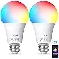 Fitop Bombilla Alexa LED Inteligente WiFi Regulable 10 W 1000 LM Lámpara, E27 Multicolor Bombilla Compatible con Alexa, Echo e Google Home, A19 90W Equivalente RGBCW Color Cambio Bombilla, 2 Pcs
