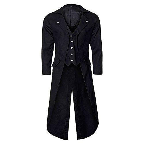Cusfull cappotto redingote giacca a maniche lunghe da uomo steampunk gotico cappotto giacca a tailcoat nero per costume di halloween, carnevale (xxl, pulsante d'argento)